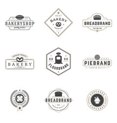 Bakery shop logos templates set object and vector