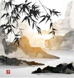 Bamboo trees sun and mountains vector image