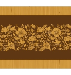 Birds among flowers wooden horizontal seamless vector image vector image
