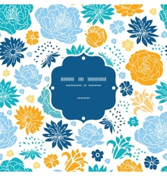 Blue and yellow flowersilhouettes frame seamless vector image