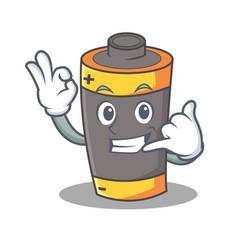 Call me battery mascot cartoon style vector