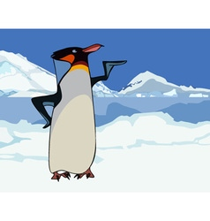 Cartoon king penguin in snowy mountains and ice vector