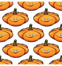 Cartoon smiling pumpkins seamless pattern vector