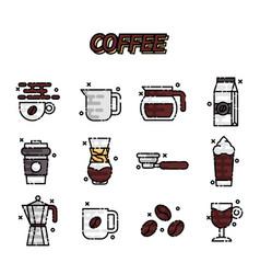 coffee cartoon concept icons vector image vector image
