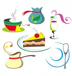 coffee tea elements vector image vector image