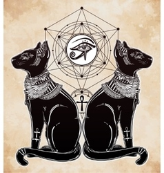Egyptian cats with sacred eye vector image