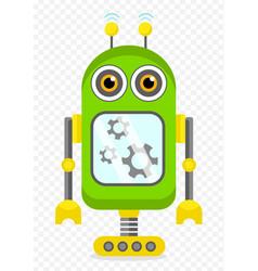 green cheerful cartoon robot character vector image vector image