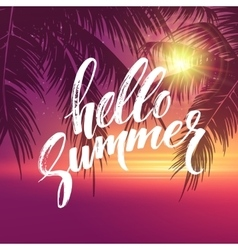 Hello summer background Tropical palm leaves vector image vector image