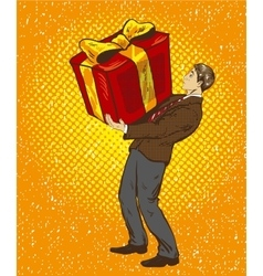 Man holds big gift box in vector image