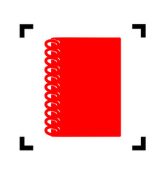 notebook simple sign red icon inside vector image