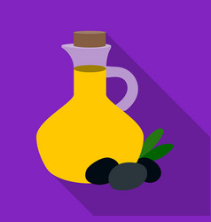 Olive oil bottle with flat olives icon in flat vector