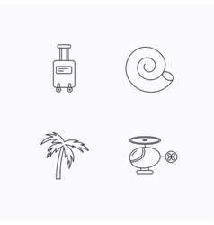 Palm tree shell and helicopter icons vector image