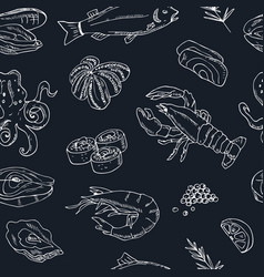 seamless pattern with hand drawn seafood vector image vector image