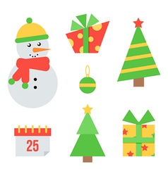 Set of cute christmas and new year icons vector