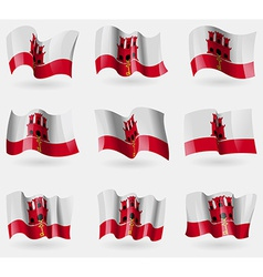 Set of Gibraltar flags in the air vector image