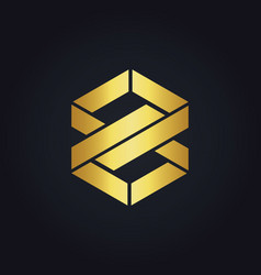 Shape infinity eight gold logo vector