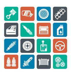 Silhouette detailed car parts icons vector