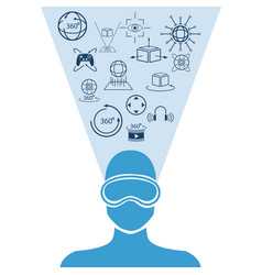 Silhouette human head virtual reality icons vector