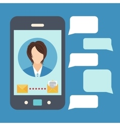 Smartphone with phone message vector