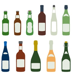 Solid colors alcohol bottles icons set vector