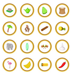 Sri lanka travel icons circle vector
