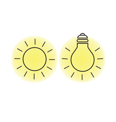Sun and light bulb vector