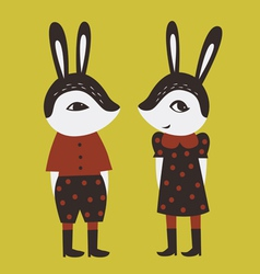 Two cute rabbits vector image