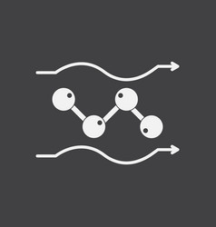 White icon on black background molecules motion vector