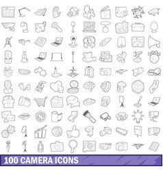 100 camera icons set outline style vector image