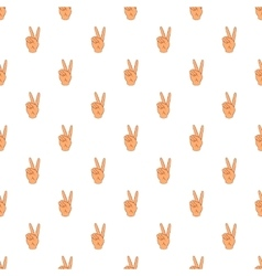 Gesture victoria pattern cartoon style vector