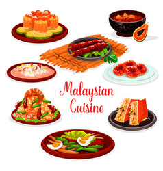 Malaysian cuisine restaurant menu with asian food vector