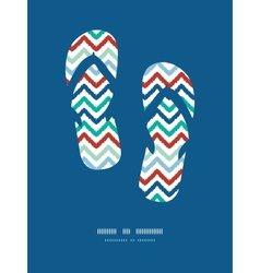 Colorful ikat chevron frame flip flops decor vector