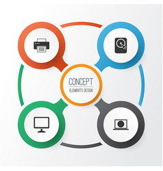 Digital icons set collection of desktop hdd vector