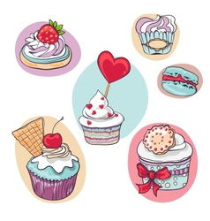 Isolated set of cupcake on white vector