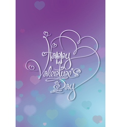 Valentines card happy valentines day purple blue vector