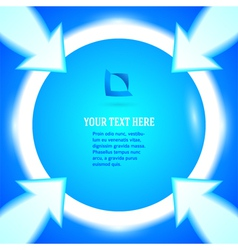 Round frame arrows bright blue background vector