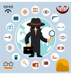 Spy with accessories icons vector