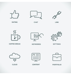 Modern line seo icons set of seo service symbols vector