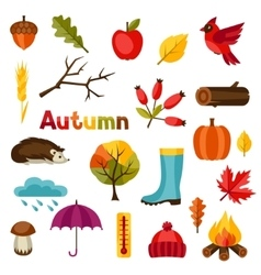 Autumn icon and objects set for design vector