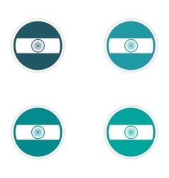 Set of stickers indian flag on white background vector