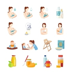 Baby feeding flat icons set vector