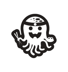 style black and white icon Octopus chef vector image