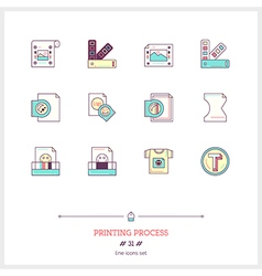Printing process line icons set vector