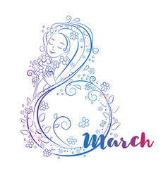 8 march day concept with beatiful woma vector