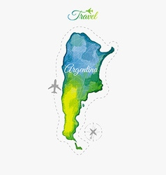 Travel around the world argentina watercolor map vector