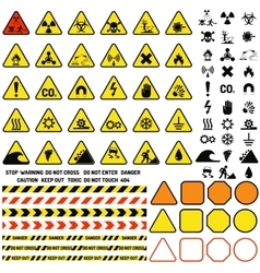 Hazard warning attention sign with exclamation vector