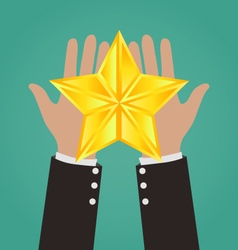 Businessman hands giving gold star vector