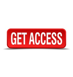 Get access red 3d square button on white vector