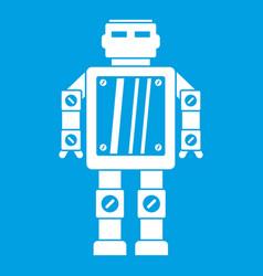 Abstract robot icon white vector