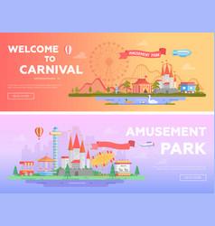 amusement park - set of modern flat vector image vector image